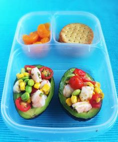 #Avocados Stuffed with Shrimp Salsa and packed in @EasyLunchboxes  #Recipe in post.