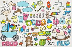 Baby Clipart - Hand drawn clip art, new baby, baby shower clip art, baby shower drawings, baby toys, new baby clipart, baby girl or baby boy