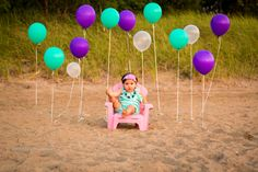 first birthday, photo, girl, beach photography, one, mermaid, balloons, outdoor, ideas