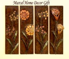 4 Flower Metal wall Plaque Decor Sculpture New by Yuma Enterprises. $140.00. Welcome To Marcel Home Decor & Gift Embossed flower Metal wall Plaque Decor Sculpture. This sculpture is 34 inches in height and 8.5 inches wide. Features 4 diffrent flowers pattern on bronze metal frame. Catch the new trend in home furnishing. Marcel Home Decor & Gift is the one stop for all your home decor needs! THANKS FOR VISIT OUR STORE