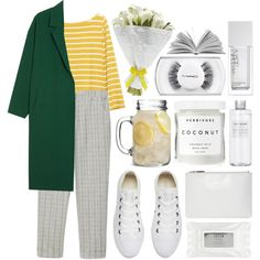 A fashion look from April 2018 featuring boat neck tops, green coat and white dress pants. Browse and shop related looks. White Dress Pants, Grey Pants, Wide Leg Pants, Boat Neck Tops, Green Coat, Green Stripes, Cute Outfits, Fashion Looks, Muji