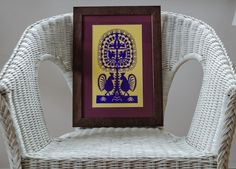 "Purple ""Leluja"" - hand-made traditional Kurpie cutout. Polish handicraft"