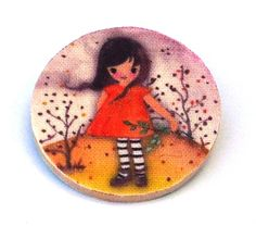 Girl with Orange dress wood and fabric Brooch £6.00