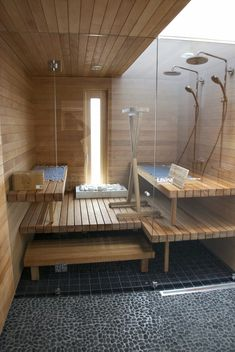 Vantaa Housing Fair / Asuntomessut 2015 Jacuzzi, Basement Sauna, Modern Saunas, Sauna Ideas, Sauna Design, Spa Rooms, Infrared Sauna, Steam Room, Steam Showers