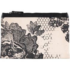 FUNKY LACE big clutch | Rose/Black Beautiful printed clutch, size 24x18cm in 100% Cotton Canvas with genuine leather trim. Lining inside w. small zip pocket. #accessories #aw16 #clutch #fashion #black #white #rose #print