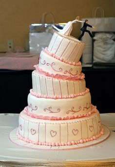 funny grooms cake ideas | funny Wedding cakes idea with a pink and White Wedding cake that ...