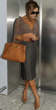 Victoria Beckham - Hermes Birkin - love the colour of her outfit,nicely put together!