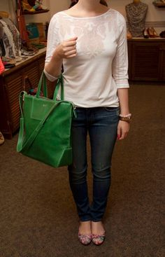 Outfit: InWear top, Rich and Skinny jeans, Desigual flats, and a Mat & Nat bag!