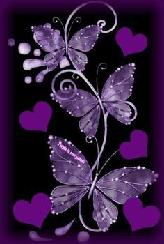 By Artist Unknown. Purple Butterfly Tattoo, Butterfly Wallpaper, Heart Wallpaper, Purple Wallpaper, Butterfly Flowers, Cellphone Wallpaper, Beautiful Butterflies, Purple Flowers, Wallpaper Backgrounds