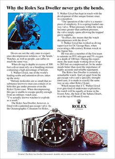 1974 Rolex Submariner SEA-DWELLER Ad featuring T. Walker Lloyd