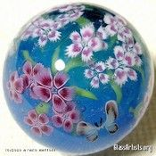 Pink Flower and Butterfly Marble « { Flower Marbles } - Glass Artists.org