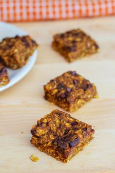 Pumpkin Chocolate Chip Oatmeal Bars