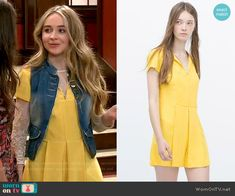 Maya's yellow pleated romper on Girl Meets World.  Outfit Details: http://wornontv.net/54002/ #GirlMeetsWorld
