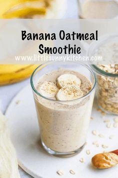 This banana oatmeal smoothie makes a nutritious breakfast that will keep you full for longer It s thick rich smoothie and delicious bananasmoothie breakfastsmoothie oatmealsmoothie vegansmoothie Smoothie Without Yogurt, Yogurt Smoothies, Peanut Butter Banana Smoothie Recipe Without Yogurt, Healthy Banana Smoothies, Almond Milk Smoothies, Nutritious Breakfast, Healthy Breakfast Smoothies, Nutritious Smoothies, Lunch Smoothie