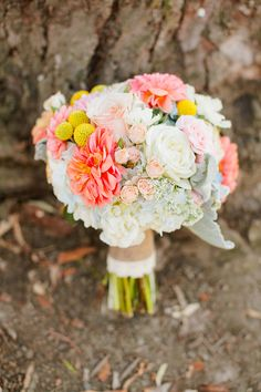 Bright Wedding Bouquet - See the wedding here: http://www.StyleMePretty.com/2014/03/27/whimsical-woodland-garden-wedding/ Photography: MasonAndMegan.com | Floral Design: MagnoliaDesignoc.com