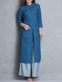 Buy Blue Mandarin Collar Thread Embroidered Matka Silk Kurta Online at Jaypore.com Plain Kurti Designs, New Kurti Designs, Salwar Designs, Kurta Designs Women, Blouse Designs, Collar Kurti, Kurti Styles, Dress Styles, Embroidery On Clothes