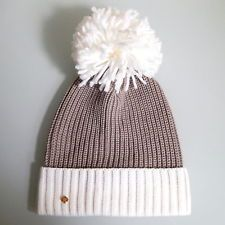 NWT KATE SPADE Color Blocked Beanie Hat With Pom Pom Cream and Taupe