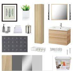 Planche shopping Rénovation salle de bain bois gris blanc Godmorgon Ikea, Leroy Merlin Sophie B - Décoratrice d'intérieur www.sophiebdeco.com