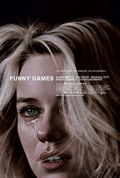 """""""Funny Games"""" poster. Clean typography, strong image."""