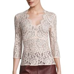 SET Women's Lace V-Neck Blouse (€290) ❤ liked on Polyvore featuring tops, blouses, apparel & accessories, sepia rose, flower print blouse, floral lace top, pink lace blouse, floral tops and pink top