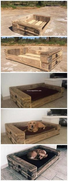 Lovely Wooden Pallets Dog Bed Ideas