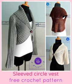 crochet circle vest with sleeves - free pattern