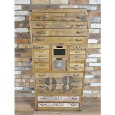 Elderflower Lane - Superb tall wooden industrial vintage style cabinet/bank of drawers.