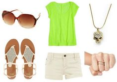 Khaki pants, lime green shirt, sandals, gold necklace, gold ring
