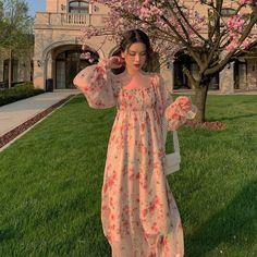 Pretty Outfits, Pretty Dresses, Beautiful Dresses, Cute Outfits, Maxi Dress With Sleeves, Chiffon Dress, Indian Fashion Dresses, Fashion Outfits, Vetements Clothing