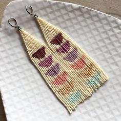 jewelry beaded Image of Half moon gradient fringe earrings - These beaded fringe earrings are made with Japanese delica beads, including gold plated beads. wide, and long Proudly made in.What about beaded earrings? Well, earrings are mostly made of m Seed Bead Jewelry, Diy Jewelry, Beaded Jewelry, Handmade Jewelry, Jewelry Making, Jewelry Ideas, Seed Bead Crafts, Necklace Ideas, Fashion Jewelry