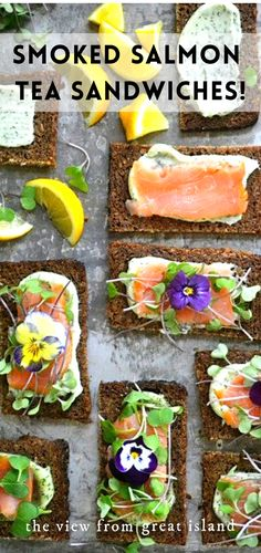 Nordic Open Faced Smoked Salmon Sandwiches are exquisitely delicate and healthy ~  perfect for tea parties, luncheons, and brunches!  #salmon #dill #nordicrecipes #smokedsalmon #brunch #appetizer #healthy #colorfulfood #edibleflowers #microgreens #toasts #homemademayo #scandinavianfood #ryebread #seafood Healthy Salmon Recipes, Beef Recipes, Smoked Salmon Sandwich, Tea Party Menu, Afternoon Tea Recipes, Scandinavian Food, Tea Sandwiches, Great Appetizers, Brunches