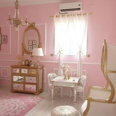 Project Nursery - Gold Trimmed Mirrored Furniture in this Parisian Nursery
