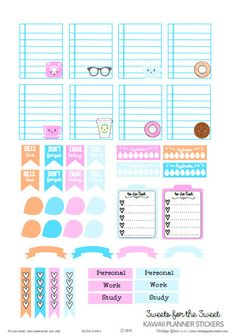 FREE printable Kawaii Planner Stickers | Free printable download for personal use only.