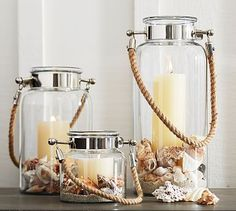 I think you wanted to stay away from the nautical theme, but threw these in anyway to see diff options.......Hyannis Lantern - Silver Finish #potterybarn