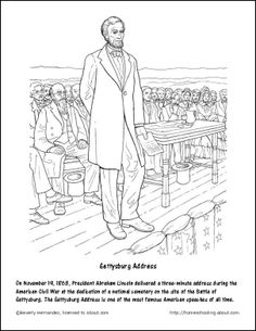 13 abe lincoln games and activities for presidents day gettysburg address coloring page