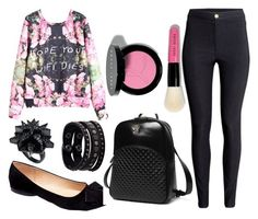 """pink and black"" by alexfred ❤ liked on Polyvore featuring Machi, Princess Carousel, Replay, Eddie Borgo, Bobbi Brown Cosmetics and H&M"
