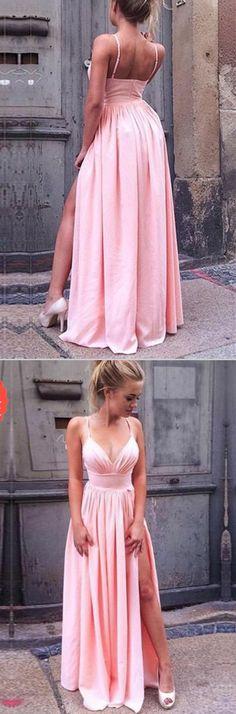 Fashion Spaghetti Straps V Neck Slit Pink Cheap Prom Dresses Evening Gowns Party Dress LD989 #promdresses #promdress #laurashop #pinkpromdresses #cheappromdresses