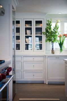Above Cabinets But With A Latch Hardware Painted Cabinets Subway Tiles