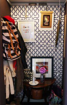 Wallpapered closet: The Luxurious Little Home of Sooz Gordon House Tour | Apartment Therapy