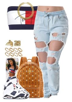 """""""Tommy"""" by lulu-foreva ❤ liked on Polyvore featuring Tommy Hilfiger, ASOS, MCM, NIKE and Gogo Philip"""