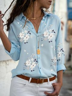 Women's Clothing Shirt 2019 Summer Floral Love Print Long Sleeve V-neck Shirts Female Top Blouses Chemisier White Blusas Blue. Trend Fashion, Fashion Week, Look Fashion, Womens Fashion, Fashion Online, Collar Shirts, Shirt Blouses, Tunic Blouse, Shirt Dress