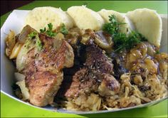 Pork and Dumplings - These are my brother Mike's signature dish. European Dishes, European Cuisine, Slovak Recipes, Czech Recipes, Cookbook Recipes, Snack Recipes, Bread Dumplings, Thing 1, Polish Recipes