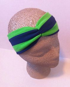 Seattle Seahawks Stretch Turban Style Headband Women's Girl's Babygirl's (Optional Flower) www.facebook.com/pinkpearboutique www.etsy.com/shop/pinkpearboutique