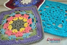 Latent Heart 12 inch crochet square in three colorways, free crochet pattern by Cre8tion Crochet