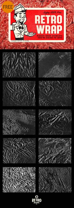 [Free] Plastic Textures I'm going to shoot straight with you here. This product doesn't have a lot of uses. But it's crazy fun to use! Place on top of your work and change the Blending Mode to Screen. Now your work looks like it's wrapped in plastic!