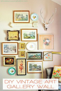 DIY Vintage Art Gallery Wall | Collect pieces from thrift stores and flea markets for a fun, budget-friendly display.