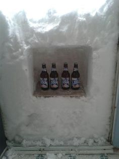 Canada Beer fridge - Newfoundland humour shines through. Newfoundlanders are dealing with a powerful blizzard ... Residents are joking about everything from makeshift beer fridges to...who knows what ;) that's too funny!!