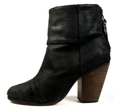 $495 RAG & BONE BOOTS 37 Newbury Boot Size 7  Black Wax Suede Ankle Boots *PRIMO #ragbone #AnkleBoots