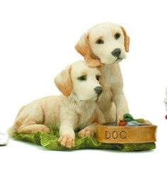 Labrador Puppies With Dog Bowl and Duck