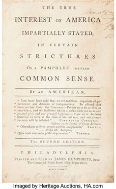 "Books:Americana & American History, Thomas Paine's ""Common Sense"" Refuted: A 1776 Tory Response Printedin Philadelphia...."